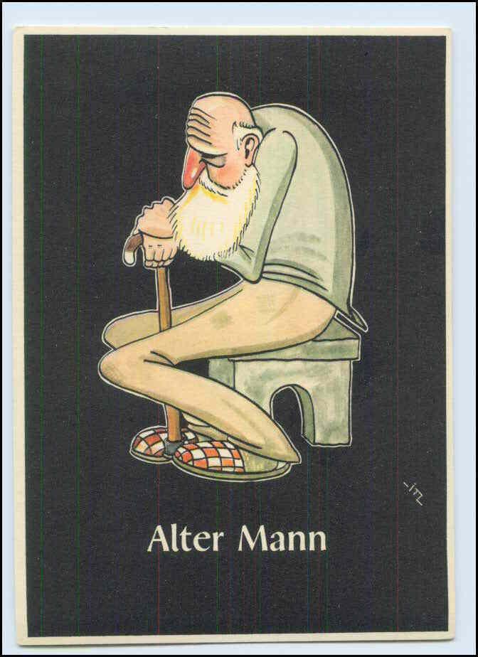 W8j42 Bergbau Humor Ak Alter Mann Lustige Gezahekiste Ca 1955